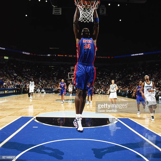 Antonio McDyess of the Detroit Pistons dunks during a game against the Minnesota Timberwolves at Target Center on January 24 2005 in Minneapolis...