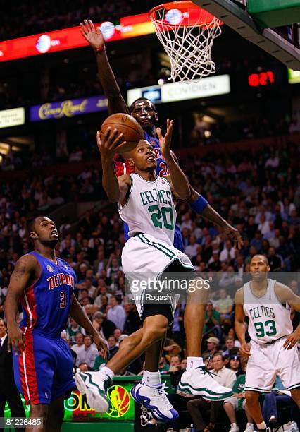 Antonio McDyess of the Detroit Pistons goes up to block the shot of Ray Allen of the Boston Celtics during Game One of the 2008 NBA Eastern...