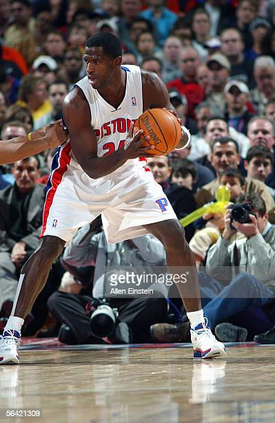 Antonio McDyess of the Detroit Pistons looks to pass during the game with the Washington Wizards on November 23 2005 at the Palace of Auburn Hills in...