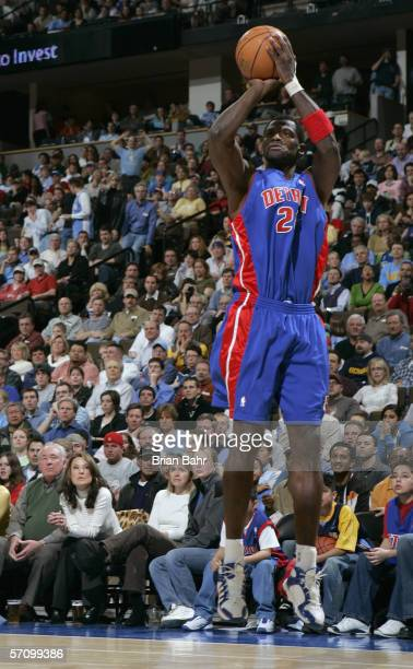 Antonio McDyess of the Detroit Pistons takes a jump shot during the game with the Denver Nuggets on March 1 2006 at the Pepsi Center in Denver...