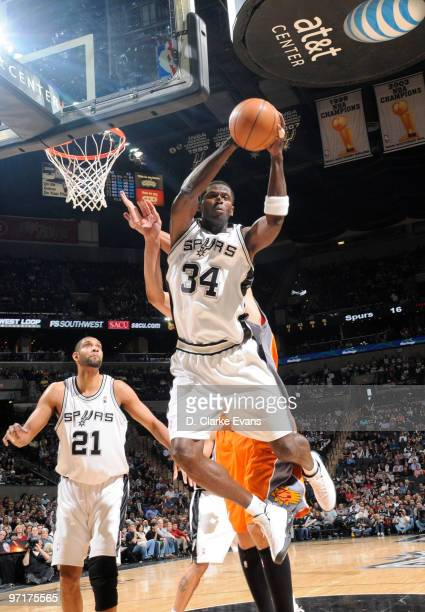 Antonio McDyess of the San Antonio Spurs catches the rebound against the Phoenix Suns on February 28 2010 at the ATT Center in San Antonio Texas NOTE...