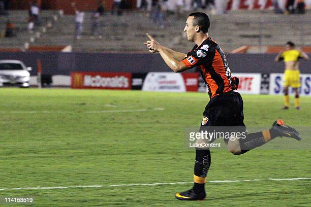 Antonio Michael Pedroza of Jaguares celebrates a scored goal during a match agains Cerro Porteno of Paraguay during a quater finals match as part of...
