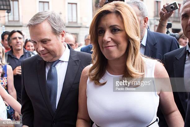 Antonio Miguel Carmona and Susana Diaz attend the funeral chapel for Pedro Zerolo at Casa de la Villa on June 9 2015 in Madrid Spain