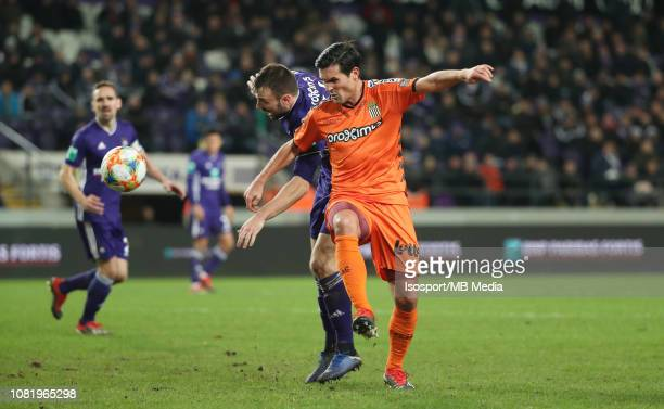 Antonio Milic of Anderlecht and Jeremy Perbet of Charleroi fight for the ball during the Jupiler Pro League match between RSC Anderlecht and Royal...