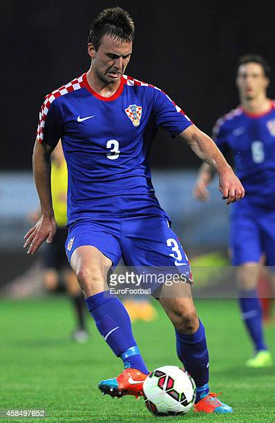 Antonio Milic of Croatia in action during the UEFA U21 Championship Playoff Second Leg match between Croatia and England at the Stadion Hnk Cibalia...