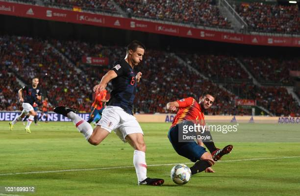 Antonio Milic of Croatia is challenged by Nacho of Spain during the UEFA Nations League A group four match between Spain and Croatia at Estadio...