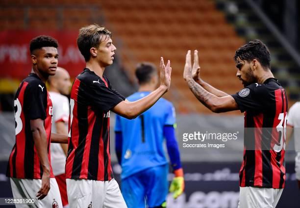 Antonio Mionic of AC Milan, Lucas Paqueta' of AC Milan, Daniel Maldini of AC Milan celebrates after scoring the goal during the Club Friendly match...