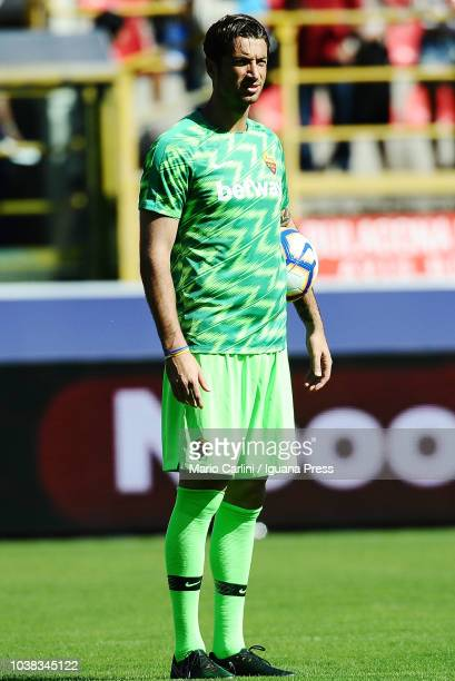 Antonio Mirante goalkeeper of AS Roma looks on during the warm up prior the beginning of the serie A match between Bologna FC and AS Roma at Stadio...