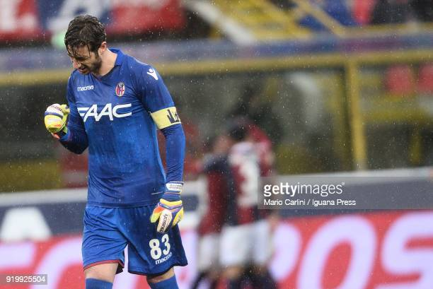 Antonio Mirante goalkeeper of Bologna FC celebrates after the goal scored by his teamate Erik Pulgar during the serie A match between Bologna FC and...