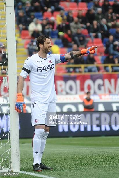 Antonio Mirante goalkeeper of Bologna FC gives directions during the serie A match between Bologna FC and Hellas Verona FC at Stadio Renato Dall'Ara...