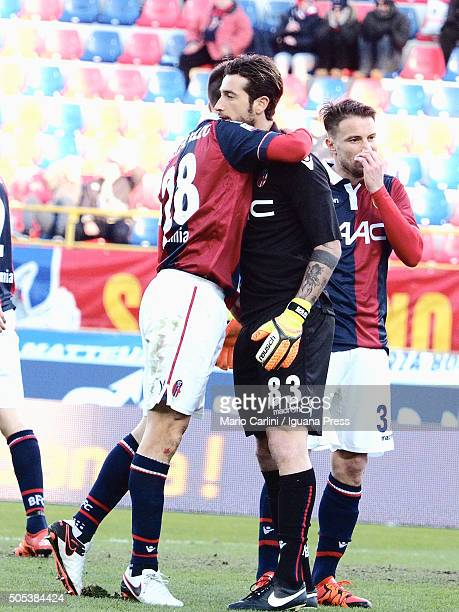 Antonio Mirante goalkeeper of Bologna FC reacts during the Serie A match between Bologna FC and SS Lazio at Stadio Renato Dall'Ara on January 17 2016...