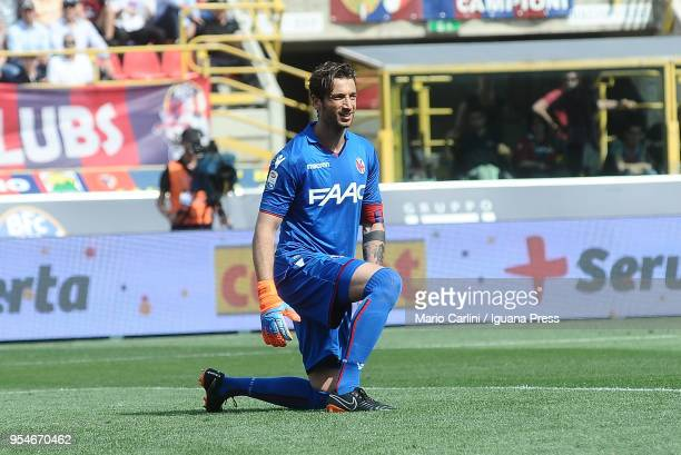 Antonio Mirante goalkeeper of Bologna FC reacts during the serie A match between Bologna FC and AC Milan at Stadio Renato Dall'Ara on April 29 2018...