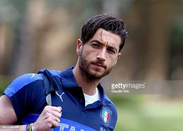 Antonio Mirante looks on prior to the Italy training session at the club's training ground at Coverciano on May 18 2016 in Florence Italy