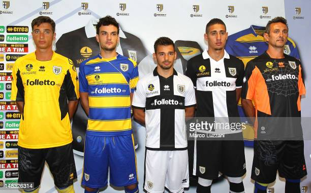 Antonio Mirante Marco Parolo Sotris Ninis Ishak Belfodil Nicola Pavarini of Parma FC during Parma FC New Kit unveiling on July 14 2012 in Parma Italy