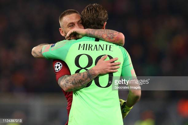 Antonio Mirante of AS Roma Daniele De Rossi of AS Roma during the UEFA Champions League match between AS Roma v FC Porto at the Stadio Olimpico Rome...