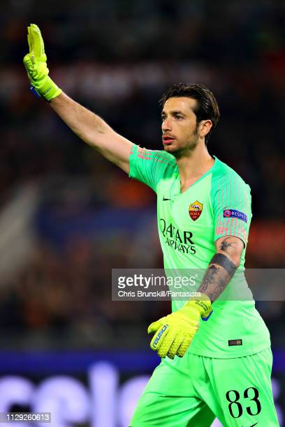 Antonio Mirante of AS Roma gestures during the UEFA Champions League Round of 16 First Leg match between AS Roma and FC Porto at Stadio Olimpico on...