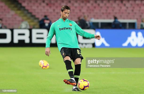 Antonio Mirante of AS Roma warms up before the Serie A match between SSC Napoli and AS Roma at Stadio San Paolo on October 28 2018 in Naples Italy