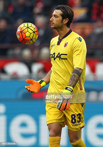 Antonio Mirante of Bologna FC controls the ball during the Serie A match between AC Milan and Bologna FC at Stadio Giuseppe Meazza on January 6 2016...