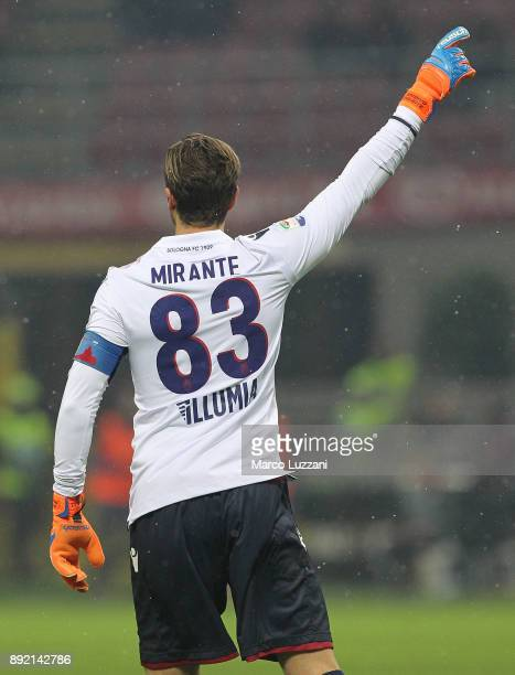 Antonio Mirante of Bologna FC gestures during the Serie A match between AC Milan and Bologna FC at Stadio Giuseppe Meazza on December 10 2017 in...