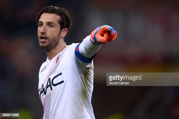 Antonio Mirante of Bologna FC getures during the Serie A football match between AC Milan and Bologna FC AC Milan won 21 over Bologna FC