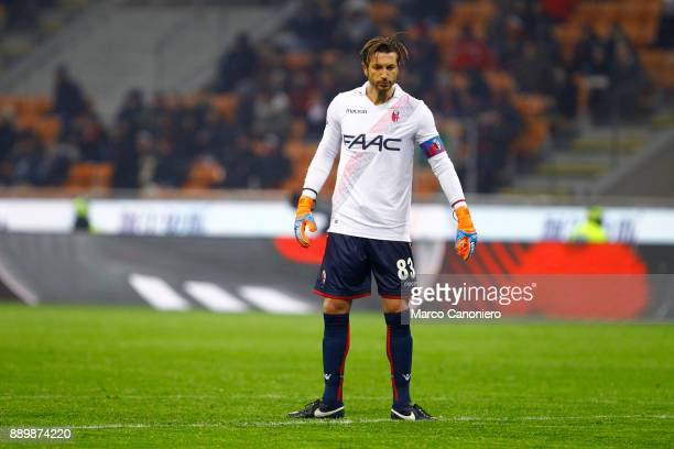 Antonio Mirante of Bologna Fc in action during the Serie A football match between AC Milan and Bologna Fc Ac Milan wins 21 over Bologna Fc