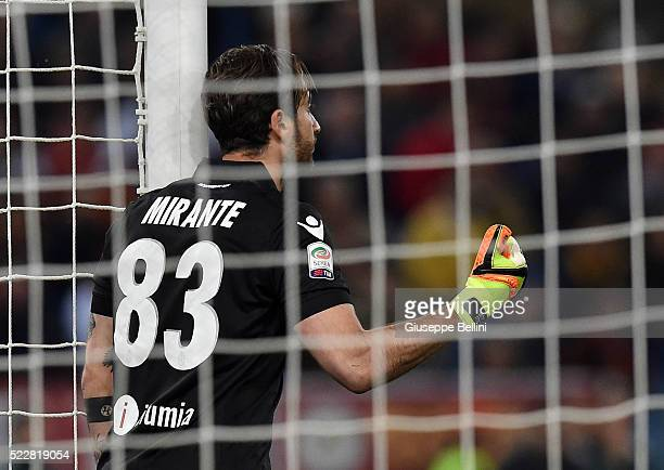 Antonio Mirante of Bologna FC in action during the Serie A match between AS Roma and Bologna FC at Stadio Olimpico on April 11 2016 in Rome Italy