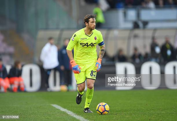 Antonio Mirante of Bologna FC in action during the serie A match between SSC Napoli and Bologna FC at Stadio San Paolo on January 28 2018 in Naples...