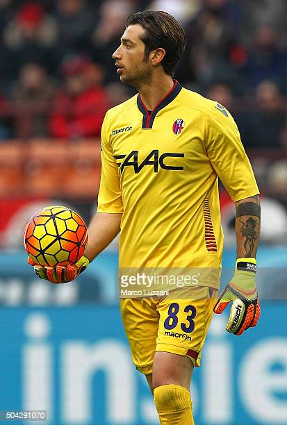 Antonio Mirante of Bologna FC looks on during the Serie A match between AC Milan and Bologna FC at Stadio Giuseppe Meazza on January 6 2016 in Milan...