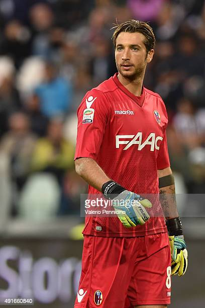 Antonio Mirante of Bologna FC looks on during the Serie A match between Juventus FC and Bologna FC at Juventus Arena on October 4 2015 in Turin Italy