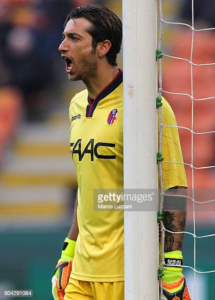 Antonio Mirante of Bologna FC shouts during the Serie A match between AC Milan and Bologna FC at Stadio Giuseppe Meazza on January 6 2016 in Milan...