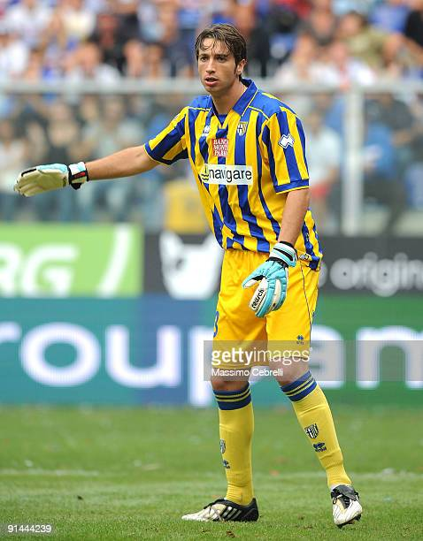 Antonio Mirante of Parma FC gestures during the Serie A match between UC Sampdoria and FC Parma at Stadio Luigi Ferraris on October 4 2009 in Genoa...