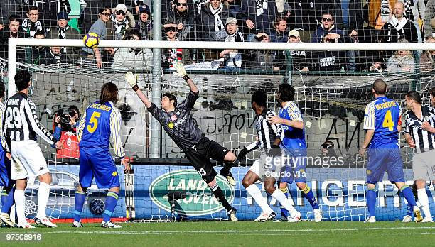 Antonio Mirante of Parma FC in action during the Serie A match between AC Siena and Parma FC at Stadio Artemio Franchi on March 7 2010 in Siena Italy
