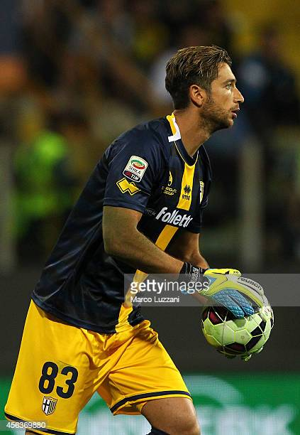 Antonio Mirante of Parma FC looks on during the Serie A match between Parma FC and AS Roma at Stadio Ennio Tardini on September 24 2014 in Parma Italy