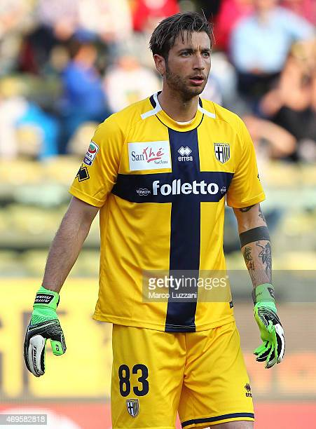 Antonio Mirante of Parma FC looks on during the Serie A match between Parma FC and Juventus FC at Stadio Ennio Tardini on April 11 2015 in Parma Italy