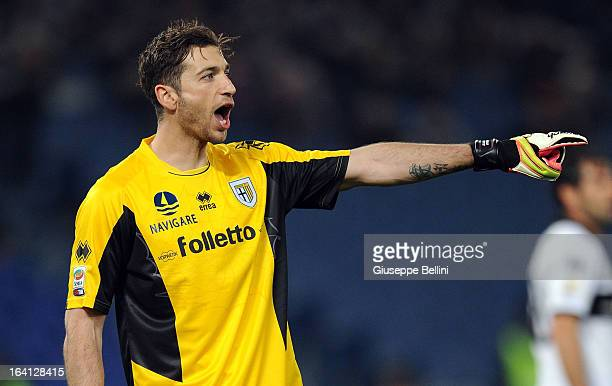 Antonio Mirante of Parma in action during the Serie A match between AS Roma and Parma FC at Stadio Olimpico on March 17 2013 in Rome Italy