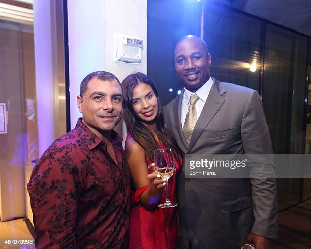 Antonio Misuraca Carmen Aida and Lennox Lewis attend the Haute Living Miami Haute 100 Dinner Presented By Dom Perignon And Jade Signature at PAMM Art...