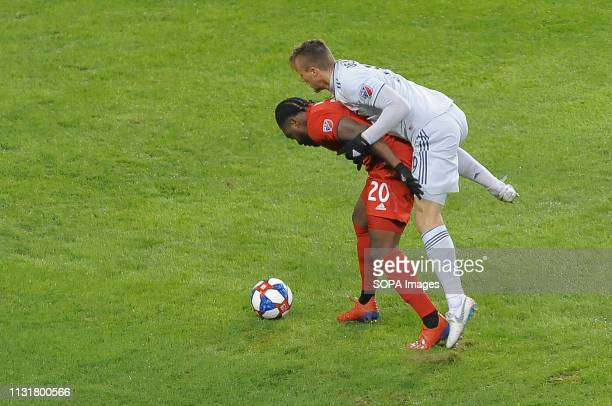 BMO FIELD TORONTO ONTARIO CANADA Antonio Mlinar Delamea jumps on Ayo Akinola during 2019 MLS Regular Season match between Toronto FC and New England...