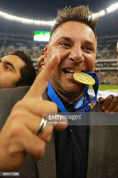 Antonio Mohamed Coach of America celebrates after a Final second leg match between America and Tigres UANL as part of the Apertura 2014 Liga MX at...
