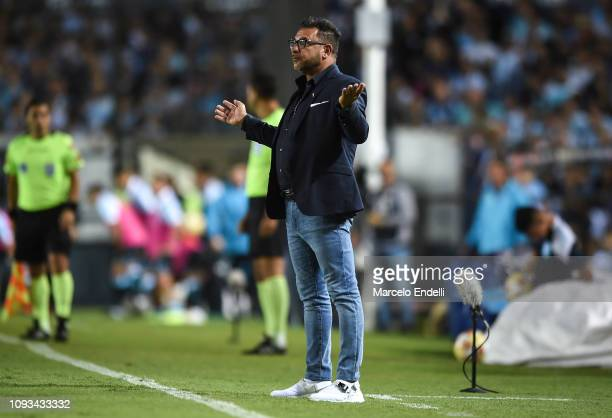 Antonio Mohamed coach of Huracan gestures during a match between Racing Club and Huracan as part of Superliga 2018/19 at Juan Domingo Peron Stadium...