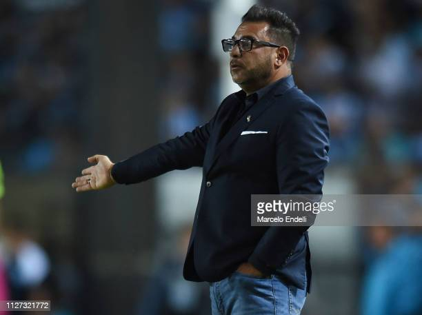 Antonio Mohamed coach of Huracan gestures during a match between Racing Club and Huracán as part of Superliga 2018/19 at Juan Domingo Peron Stadium...