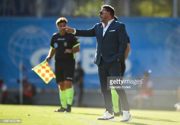 Antonio Mohamed coach of Huracan looks on during a macth between San Lorenzo and Huracán as part of Superliga 2018/19 at Estadio Pedro Bidegain on...