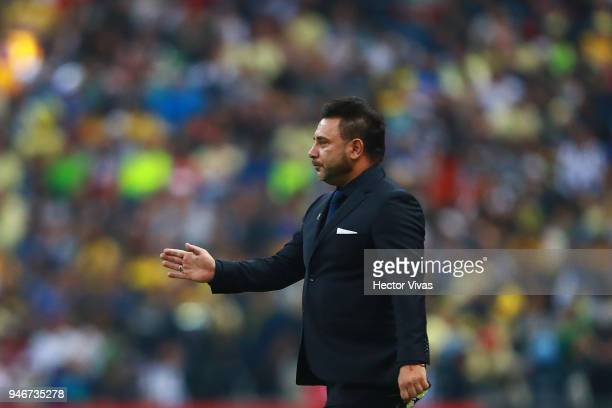 Antonio Mohamed coach of Monterrey gestures during the 15th round match between America and Monterrey as part of the Torneo Clausura 2018 Liga MX at...