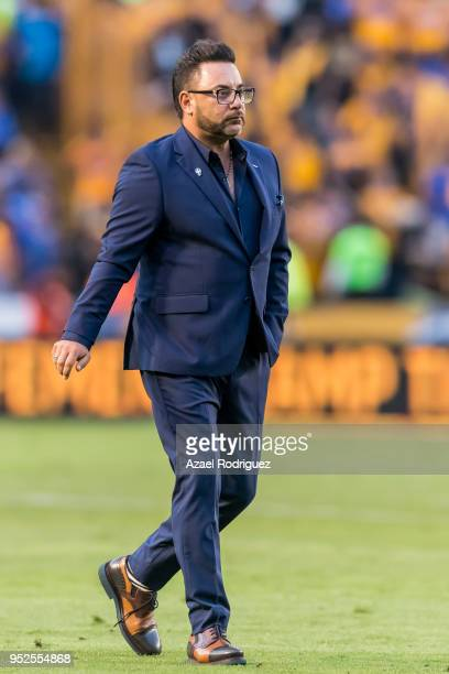 Antonio Mohamed coach of Monterrey gets off the field during the 17th round match between Tigres UANL and Monterrey as part of the Torneo Clausura...