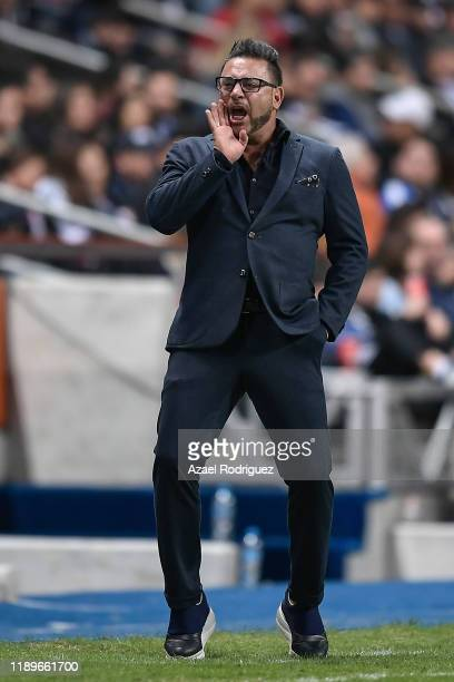 Antonio Mohamed coach of Monterrey gives instructions during the 19th round match between Monterrey and Atlas as part of the Torneo Apertura 2019...