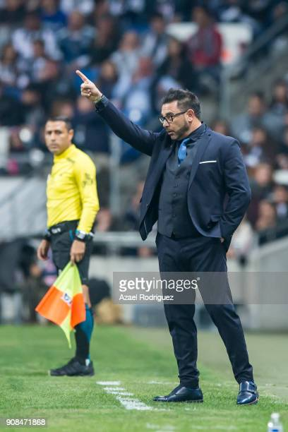 Antonio Mohamed coach of Monterrey gives instructions during the third round match between Monterrey and Tijuana as part of Torneo Clausura 2018 Liga...
