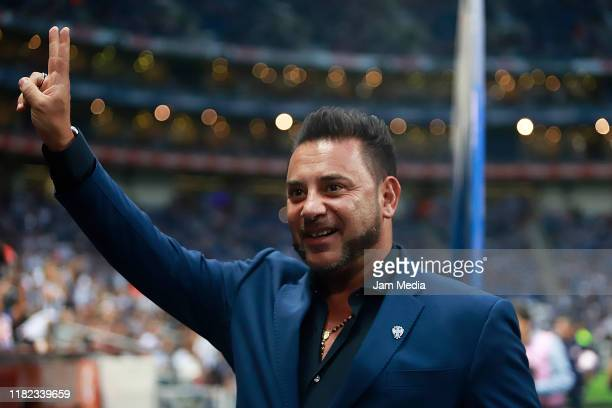 Antonio Mohamed coach of Monterrey greets before the 14th round match between Monterrey and Chivas as part of the Torneo Apertura 2019 Liga MX at...