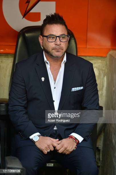 Antonio Mohamed coach of Monterrey is seen in the bench prior the 9th round match between Monterrey and Atletico San Luis as part of the Torneo...