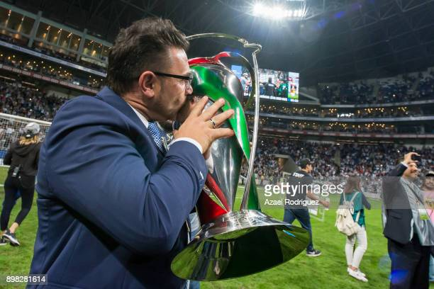 Antonio Mohamed coach of Monterrey kisses the winner's trophy after the Final match between Monterrey and Pachuca as part of the Copa MX Apertura...