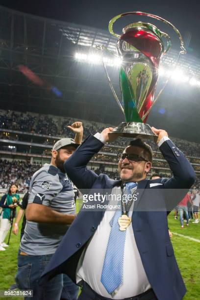 Antonio Mohamed coach of Monterrey raises the winner's trophy after the Final match between Monterrey and Pachuca as part of the Copa MX Apertura...