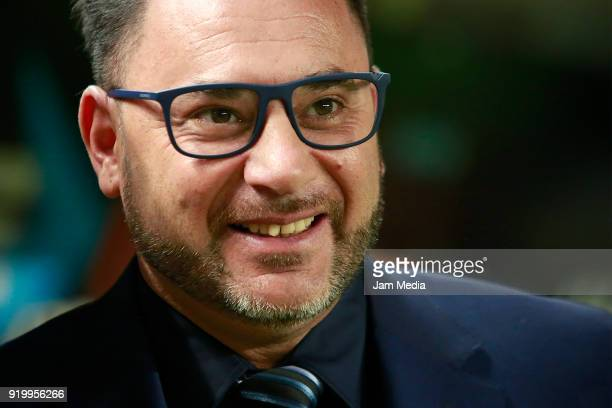 Antonio Mohamed coach of Monterrey smiles during the 8th round match between Necaxa and Monterrey as part of the Torneo Clausura 2018 Liga MX at...